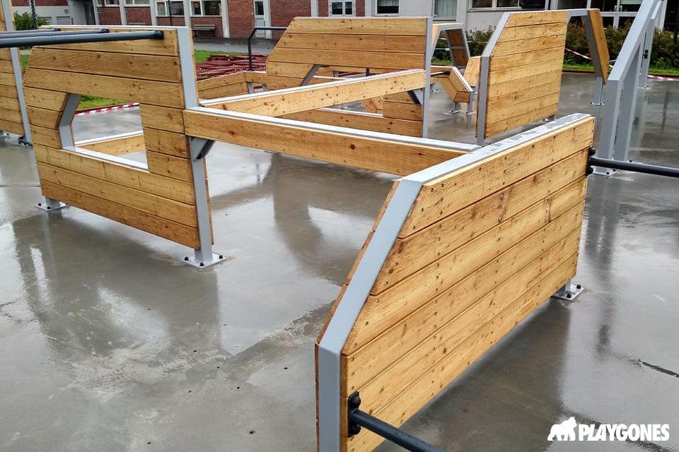 Module en bois et acier pour aire de parkour