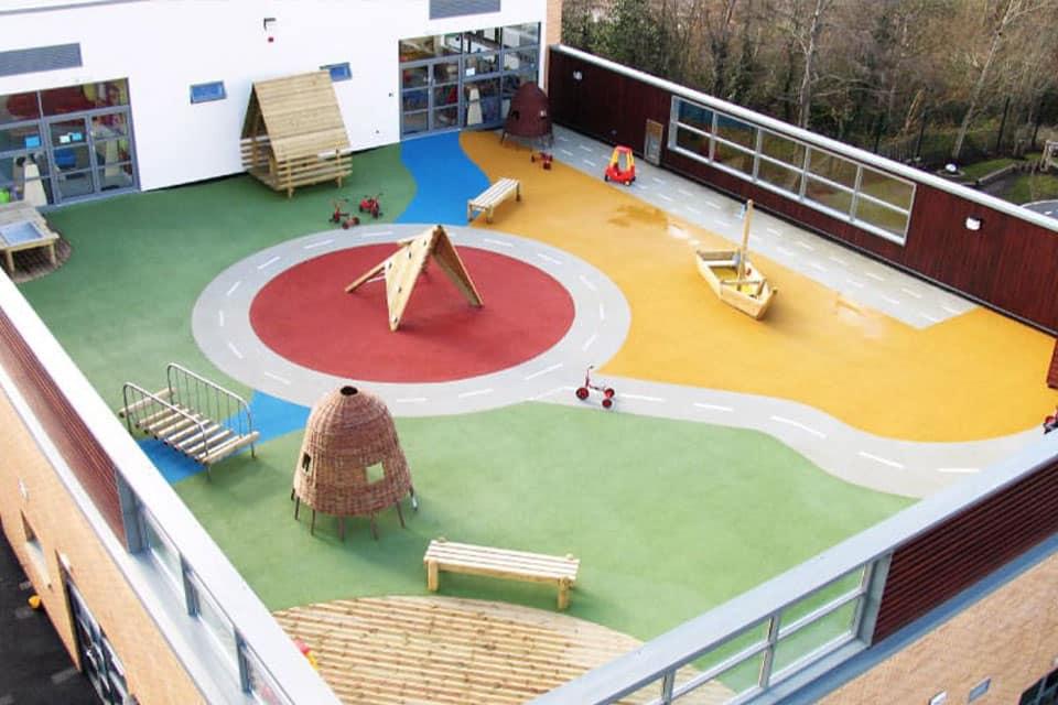 Aire de jeux sur le toit d'une garderie en Angleterre